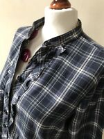 Polo Jeans Company Size Small Green Checked Long Sleeved Frill Front Blouse