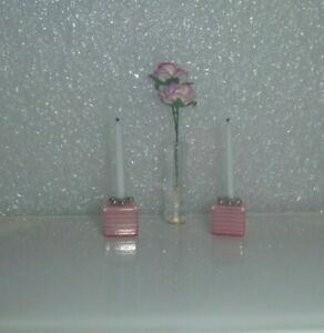 Little Pink  Candlesticks / Candles / Vase & Flowers For  Barbie, Curio or ?