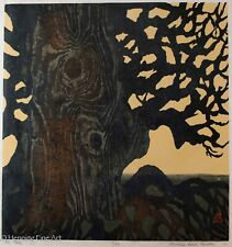 "Beautiful Large Vintage Japanese Woodblock Signed ""Michiko Iwaki Christian"" NICE"
