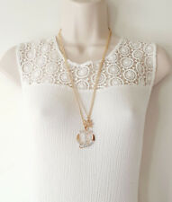 "Stunning 26"" long gold tone double chain & AB diamante anchor pendant necklace"