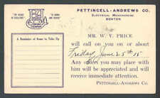 1915 Pettingell Andrews Co Boston Ma Electrical Mdse Salesmans Calling See Info