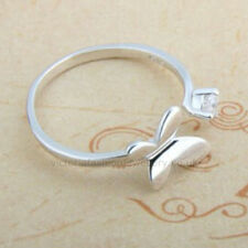 Sterling Silver Plated CUBIC ZIRCONIA BUTTERFLY RING Thumb/ Wrap Ring ADJUSTABLE