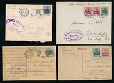 BELGIUM GERMAN OCCUPATION ISSUES 1915-19 STATIONERY + CENSORS to NELS...4 ITEMS