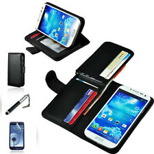 BLACK LEATHER WALLET CARD IWALLETCASE FLIP CASE COVE SAMSUNG Galaxy S4 S IV 4G