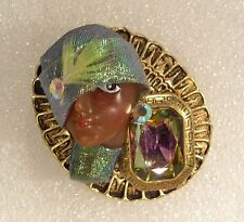LADY woman HEAD doll FACE Porcelain-Look Resin pin brooch Figural Ethnic RS OOAK