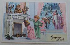 FATHER CHRISTMAS W/ DEER WINDOW,GIRL BOY LOOKING IN CHIMNEY GLITTER-OLD POSTCARD
