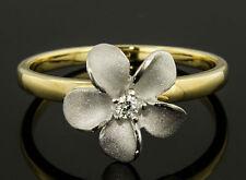 Denny Wong 14k Two Tone Gold,Diamond Plumeria Flower Ring 6 H,VS Ideal .03 Round