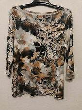 Coldwater Creek Womens Top Size L - Multicolor Knit Pullover Shirt 3/4 Sleeves