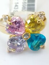 Multi - Color Flower Design heart Gold plated cocktail Ring Color Stones Size 6