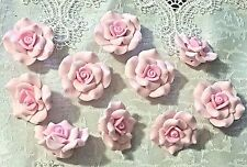 """10 PINK Polymer Clay Rose Flower Beads 30mm (about 1.25"""")"""