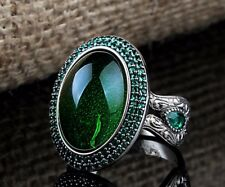 Turkish Handmade  925 S. Silver Special Emerald Mens Ring Sz 11 us Free Resize