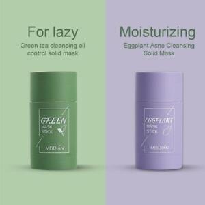 1/2x Green Tea Purifying Clay Stick M-ask Oil Control Anti-Acne Eggplant Fine UK