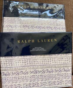 Ralph Lauren Alessandra HAYDEN Cream Multi 2pc TWIN Flat & Fitted Sheet Set NEW!
