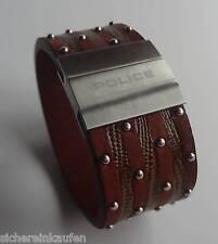 Eyecatcher: Breites POLICE Leder-Armband #21872-21 cm lang BRAUN / Umfang 187 mm