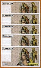 LOT, 5 pcs, France, French Test Note, Echantillon, 10103, SUPERB, FRAN-103