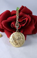 Vintage Gold tone Etched Locket Necklace Feral  CAT RESCUE