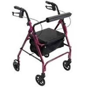 Carex Roller Walker - 4-Wheel - Burgundy