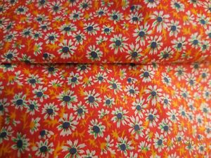 1 1/2Y Antique Vintage Quilting Fabric 100% Cotton 34W Red Blue Daisies #0250