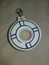 Vintage Nos Floating Key Chain Life Preserver Shaped Blue & White Boat Water