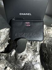 NWT CHANEL 2017 Black Caviar Small O-Case Pouch Card Holder Wallet Coin Purse