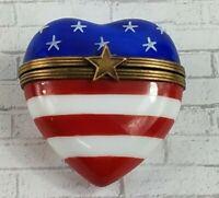 Limoges Rochard Peint Main Heart Trinket Box American Flag  France  D3