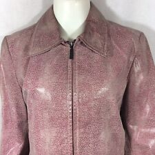 Womens Pink Leather Jacket Front Zip Snakeskin Pattern Colebrook Sz Small