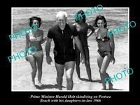 OLD 6 X 4 HISTORICAL PHOTO OF PRIME MINISTER HAROLD HOLT AT PORTSEA c1966