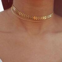 Fashion 925 Silver Gold Choker Chunky Chain Bib Necklace Women Jewelry Pendant