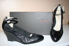 09960f7f2b9c Brand New Staccato Leather Wedge Heel Shoe Ankle Tie Black 9   41