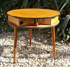 ANCIENNE PETITE TABLE RONDE EN BOIS 3 TIROIRS PIVOTANT VINTAGE