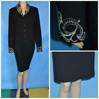 St John Evening Knits Black Jacket Skirt L 12 10 2pc Suit Rhinestones Sequined