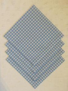 "Napkins Set of 4 Light Blue Gingham Fabric 19"" x 19"" Square(65% Poly 35% Cotton)"