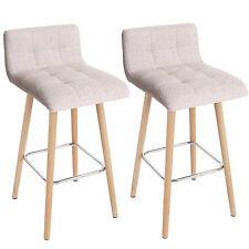 Serie Malmoe set 2x sedie sgabelli T430 tessuto legno massiccio avorio P