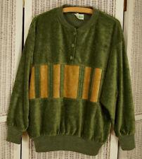ZO-ZO'S Vintage 1970s Trevira & Viloft Velour Men's Shirt 52″ Chest Sage & Camel