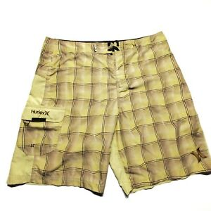 Hurley Mens Board Shorts Swimsuit Shorts Yellow Size 38