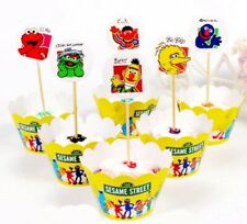 PACK OF 12 SESAME STREET CUPCAKE WRAPPERS TOPPERS BIRTHDAY PARTY SUPPLIES DECOR
