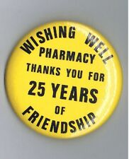 "1980s Wishing Well Pharmacy 2.25"" Advertising Pinback Button Stouffville Ontario"