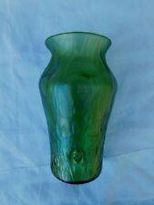 """ANTIQUE BOHEMIAN RINDSKOPF GREEN IRIDESCENT TEXTURED ART GLASS VASE 7.25"""" TALL"""