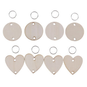 50Pcs unfinished wood discs coins circles with holes DIY family birthday lots.ji