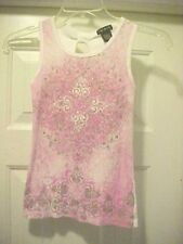 Girls Size S Sleeveless Tank Knit Top By FANG Pink White & Sliver 100% Cotton