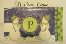"""Magnetic Mailbox Cover Monogram Initial Snowman """" P """" Only, Letter """" P """" Winter"""