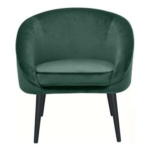 """25.5"""" W Club Chair Green Fabric Seat Curved Back Modern Tapered Hardwood Legs"""
