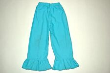 Turquoise blue girls handmade ruffle bottom pants - see measurements sz 2-4