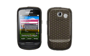 Housse Etui Coque Silicone Gel Noir Diamand ~ Samsung GT S3850 Corby 2