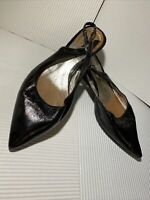 Adami Genuine Leather Black Shoes Vintage Open Back Size 36 - 3.5 Uk Kitten heel