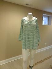 Sonoma Life+Style Women's Plus Split v-neck 3/4 sleeves Geometric Knit Top 3XNEW