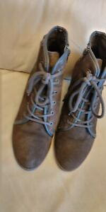 Brown Suede Lace Up+ Zip Wedge Ankle Boots UK 5/EU 38 Very good condition