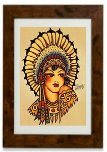 Native American Princess Vintage Traditional Tattoo Framed Print by Sailor Jerry