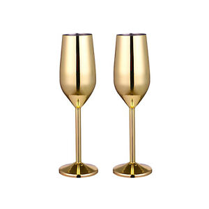 2PCS Wine Champagne Glasses Flutes Stainless Steel Shatterproof Goblet Cup Bar