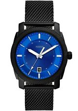 Fossil Men's Machine FS5694 42mm Blue Dial Stainless Steel Mesh Watch